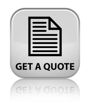 get: Get a quote (page icon) white square button Stock Photo