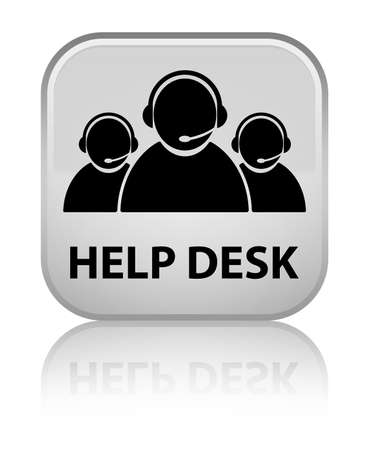 help desk: Help desk (customer care team icon) white square button Stock Photo