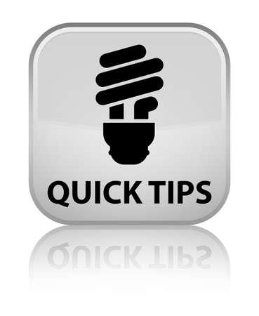 incandescence: Quick tips (bulb icon) white square button Stock Photo