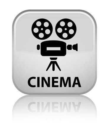 video camera icon: Cinema (video camera icon) white square button