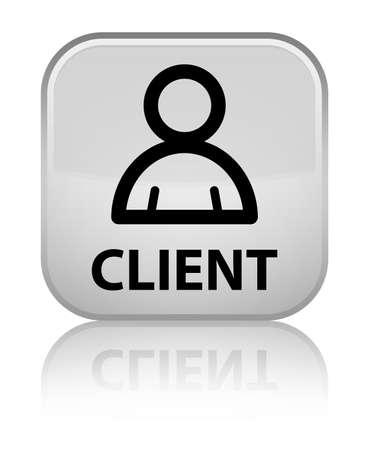 Client (member icon) white square button Stockfoto