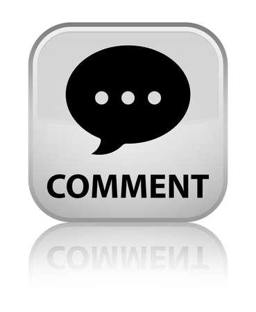 conversation icon: Comment (conversation icon) white square button Stock Photo