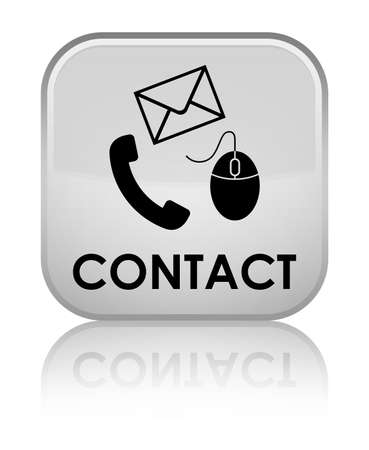 Contact (phone, email and mouse icon) white square button photo