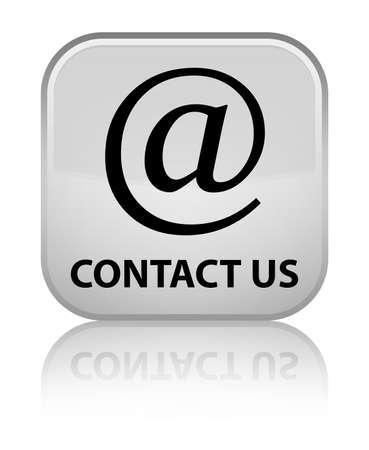 Contact us (email address icon) white square button photo