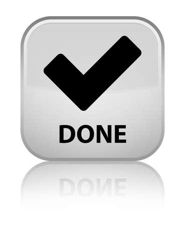 validate: Done (validate icon) white square button Stock Photo