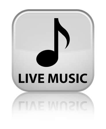 live music: Live music white square button Stock Photo