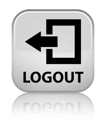 log off: Logout white square button Stock Photo