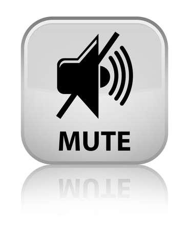 mute: Mute white square button Stock Photo