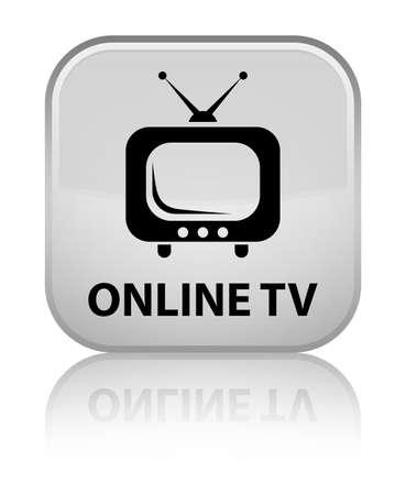 Online tv white square button photo