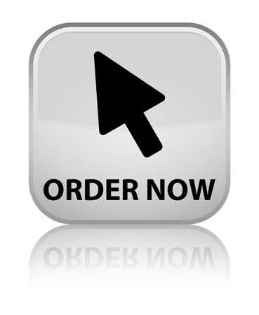 cursor: Order now (cursor icon) white square button Stock Photo