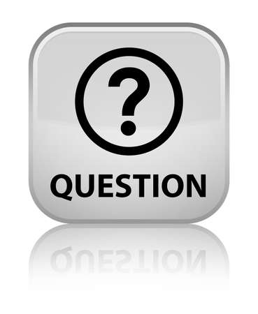 square button: Question white square button Stock Photo