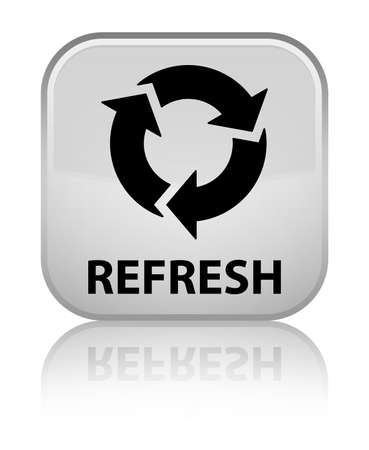 Refresh white square button Stock Photo