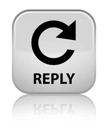 reply: Reply (rotate arrow icon) white square button Stock Photo