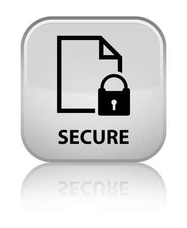 encrypted files icon: Secure (document page padlock icon) white square button Stock Photo