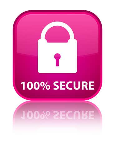 key hole shape: 100% secure pink square button Stock Photo