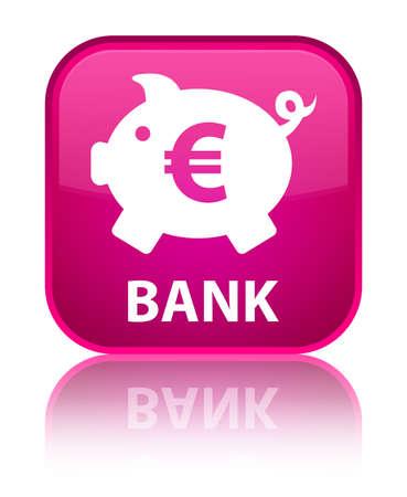 Bank (piggy box euro sign) pink square button photo