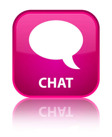 Chat pink square button photo