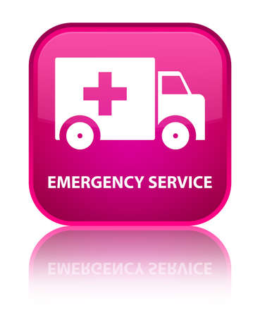 heathcare: Emergency service pink square button Stock Photo