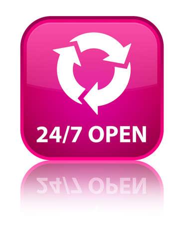 247 open (refresh icon) pink square button photo