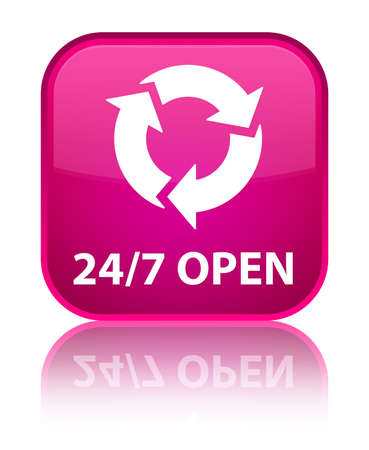 refresh icon: 247 open (refresh icon) pink square button Stock Photo