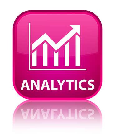 Analytics (statistics icon) pink square button photo