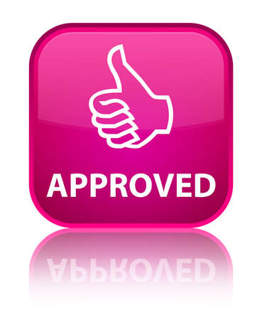 thumbs up icon: Aprobado (pulgar hacia arriba icono) bot�n cuadrado de color rosa