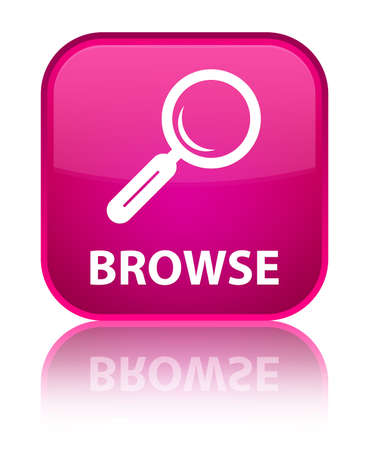 browse: Browse pink square button Stock Photo