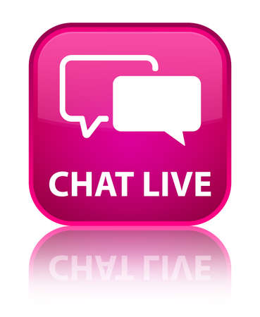 Chat live pink square button photo