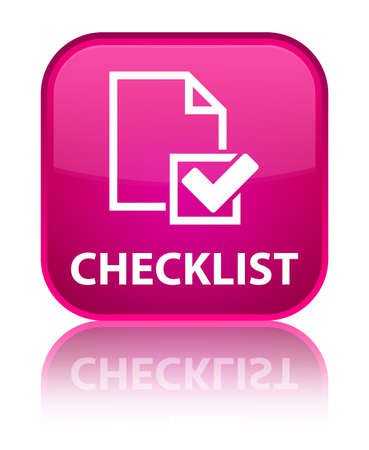 Checklist pink square button photo