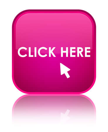 click here: Click here pink square button Stock Photo