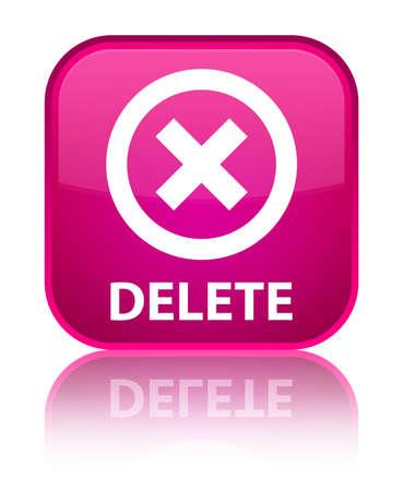 delete: Delete pink square button Stock Photo