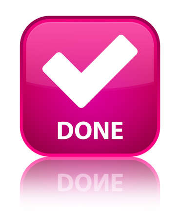 validate: Done (validate icon) pink square button Stock Photo