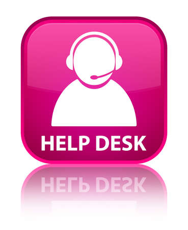 help desk: Help desk (customer care icon) pink square button