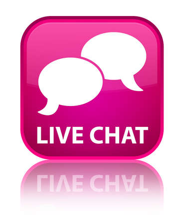 Live chat pink square button photo