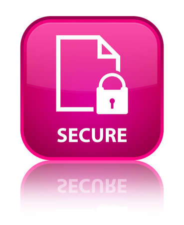 encrypted files icon: Secure (document page padlock icon) pink square button