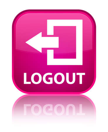 log off: Logout pink square button