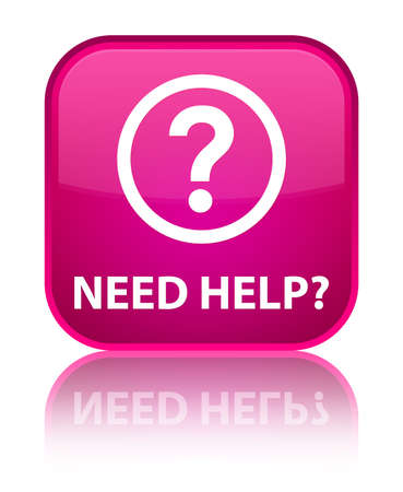 need help: Need help (question icon) pink square button Stock Photo