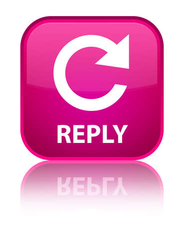 Reply (rotate arrow icon) pink square button photo