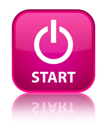turn up: Start (power icon) pink square button Stock Photo