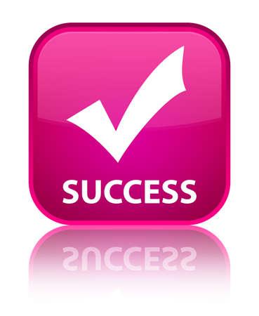 valider: Succ�s (valider ic�ne) bouton rose carr�
