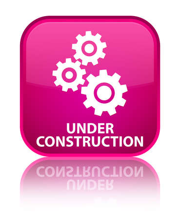 under control: Under construction (gears icon) pink square button Stock Photo