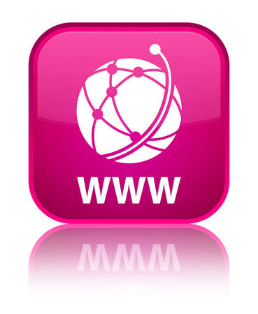 www: WWW (global network icon) pink square button Stock Photo