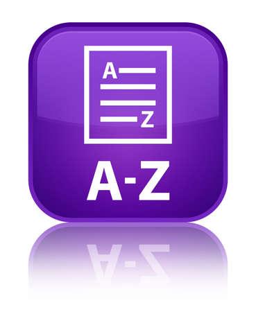 az: A-Z (list page icon) purple square button Stock Photo