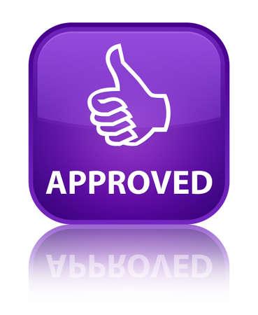thumbs up icon: Aprobado (pulgar hacia arriba icono) bot�n cuadrado p�rpura