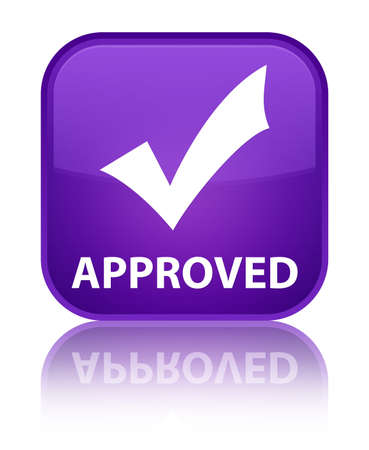 Approved (validate icon) purple square button photo