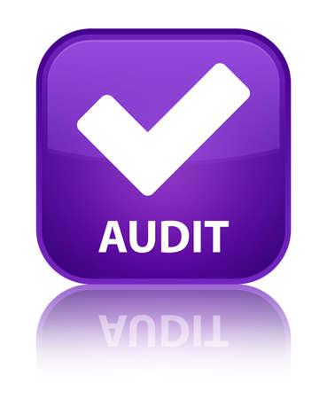 valider: Audit (validate ic�ne) bouton carr� violet Banque d'images