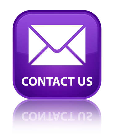 mail address: Contact us (email icon) purple square button Stock Photo