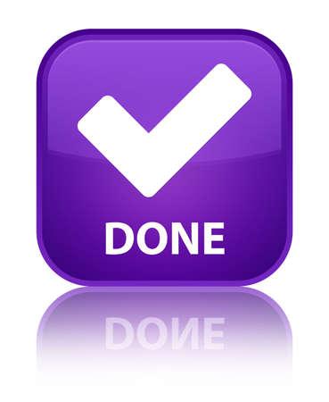 valider: Fait (valider ic�ne) bouton carr� violet Banque d'images