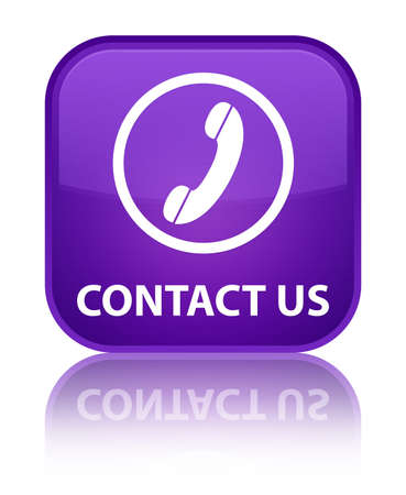 contact us phone: Contact us (phone icon round border) purple square button Stock Photo