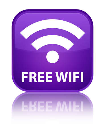 crossover: Free wifi purple square button Stock Photo